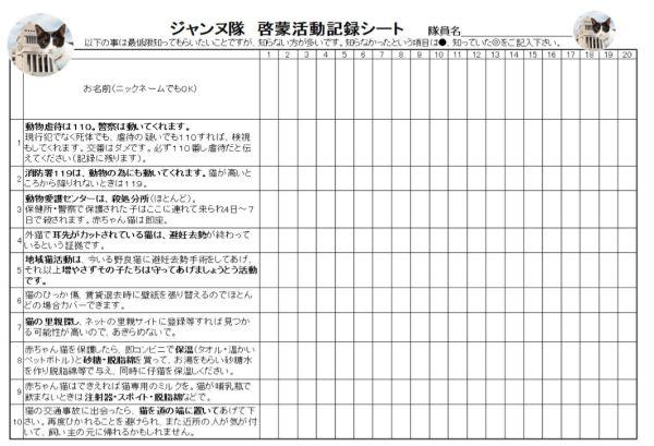 KIT⑩ 「ジャンヌ隊 啓蒙活動記録シート 10問編」 5枚 (20人×5枚=100人分)